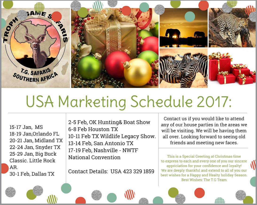 2017 USA - Travel schedule
